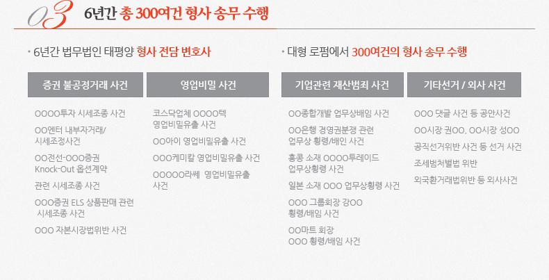 3. 6년간 총 300여건 형사 송무 수행